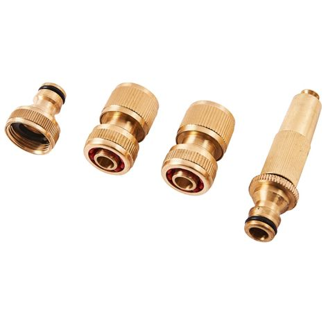 4pc Brass Hose Fitting Set