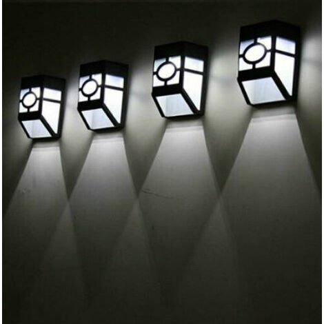 "main image of ""4pc Square Black Solar Wall Lights"""