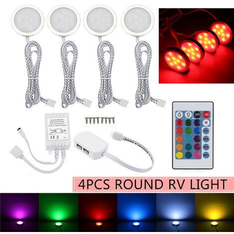 4pcs 12V LED Wireless Ceiling Light RGB Remote Control Car Interior Dome Light Under Cabinet Lights for Van RV Boat
