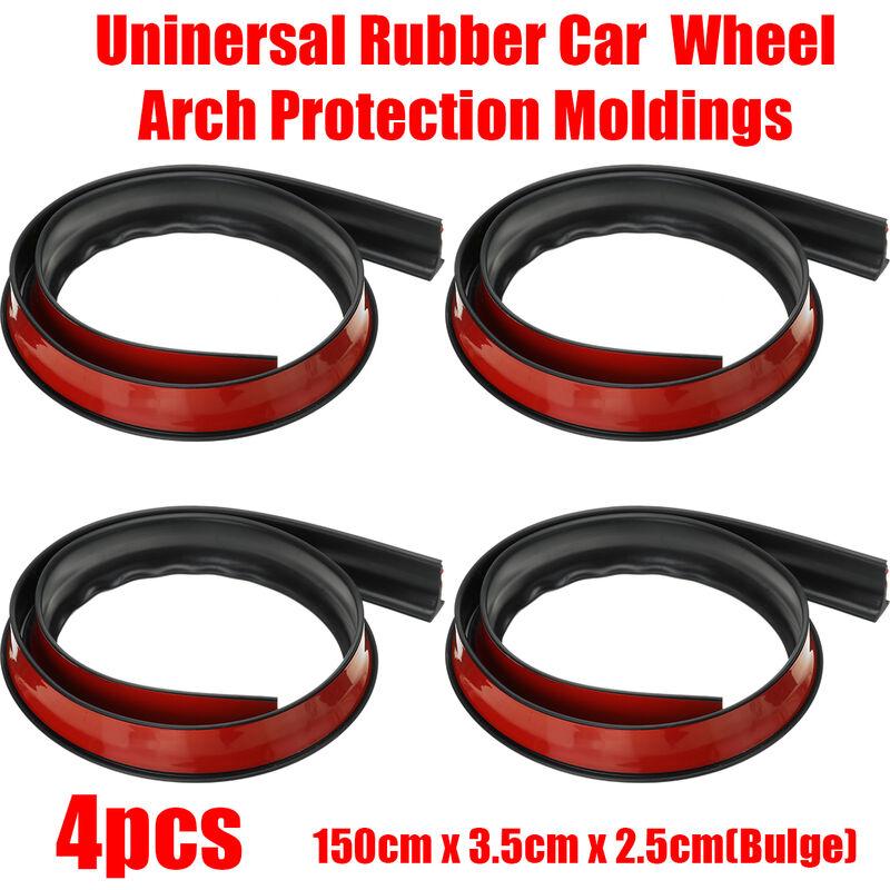 4PCS 1.5M Moulures de protection de passage de roue de garde-boue de voiture en caoutchouc universel noir