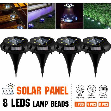 4pcs 8 LEDs 1200mAh Durable Waterproof Garden Decor Ground Lights Solar Power Buried Light
