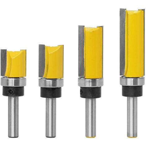 4pcs 8mm Tige Motif de Garniture Routeur Bits Set Template Trim Routeur Bits Routeur de Motif de Finition Affleurant Outil de Coupe de Fraisage du Bois 20mm, 25mm, 38mm, 50mm