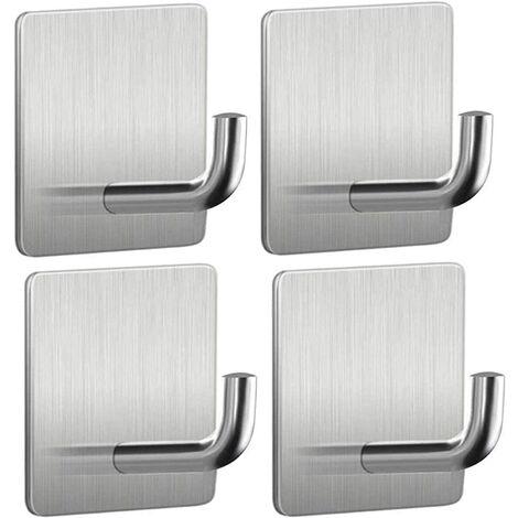 4PCS Adhesive Hook, Waterproof Heavy Duty Stainless Steel Hook for Bathroom, Kitchen, Wall, Door, Cabinet