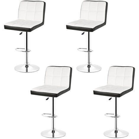 4pcs Bar stool with backrest £¬ 360 degree rotation, height adjustable r¨¦glable White and black