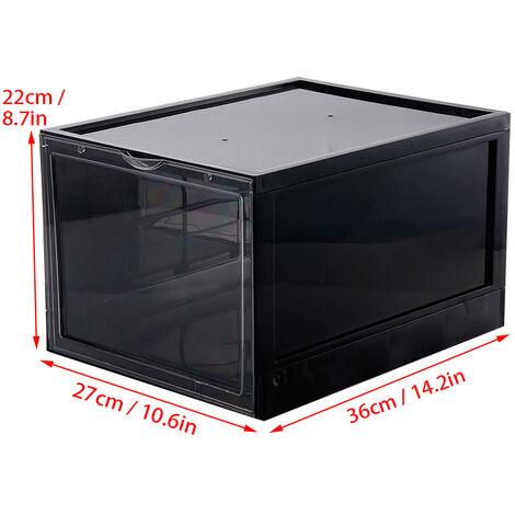 4PCS Boxes Shoes Case Box Clear Stackable Sneaker Container Transparent Shoe Organizer 22*27*36cm black