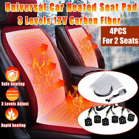 4pcs Car Winter Electric Heater Carbon Fiber Heater Seat Cushion Cushion Cover Universal with 3 Level Adjustable Switch for Two Seats 12V