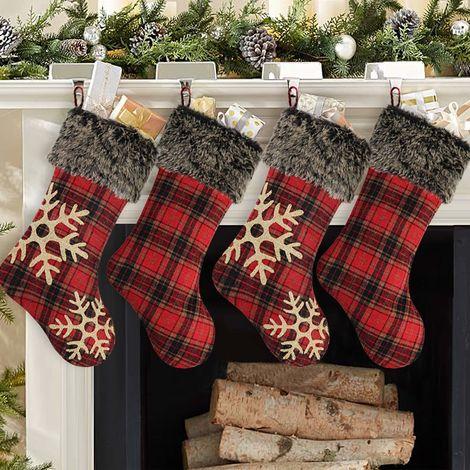 4pcs chaussettes en peluche de Noël
