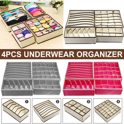 "main image of ""4PCS Closet Underwear Organizer Foldable Storage Box Drawer Divider Kit (Gray, 4pcs)"""