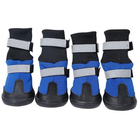 4Pcs Dog Boots Dog Warm Shoes Waterproof Non-Slip Pet Shoes blue L