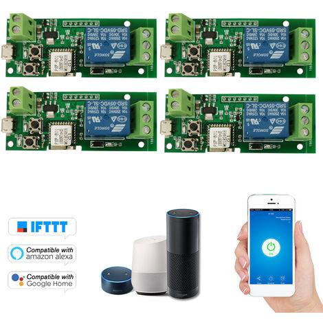 4PCS eWeLink USB Interruptor DC 5V Wifi del modulo de rele Smart Home Automation Modulos Telefono aplicacion de control remoto del interruptor de control de temporizador Alexa Google Inicio de control por voz