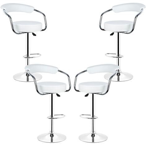 4PCS Faux Leather Bar Stools, Height Adjustable Bar Chair and Footrest White Swivel Kitchen Chair
