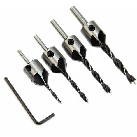 4pcs HSS Senker Holzbohrer Stahl Versenkbohrer Set Reibahle Set fur Holzbearbeitungs Fasen 5 Flute 3mm-6mm
