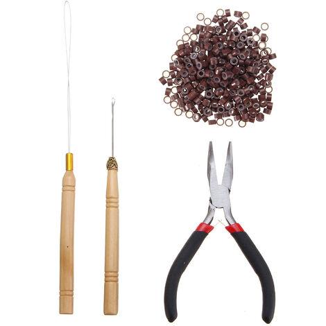 4pcs Kits d'outils d'extensions de cheveux en plumes 500pcs 5mm Micro Liens / Perles en Silicone + Aiguille à Crochet + Enfile-Boucle de Tirage + Pince Brun Moyen brun clair