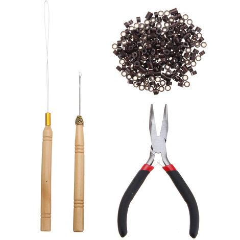 4pcs Kits d'outils d'extensions de cheveux en plumes 500pcs 5mm Micro Liens / Perles en Silicone + Aiguille à Crochet + Enfileur à Boucle de Tirage + Pince Brun Foncé marron foncé