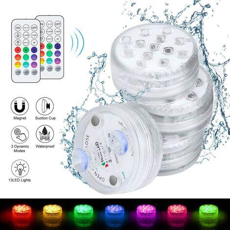 4pcs Lumières LED Submersibles, clairage Piscine Lampes Piscine IP68 Étanche 16 RGB Couleurs Changement avec Ventouses Lampes pour Aquarium Baignoire Piscine Jardin Milieu Aquatique