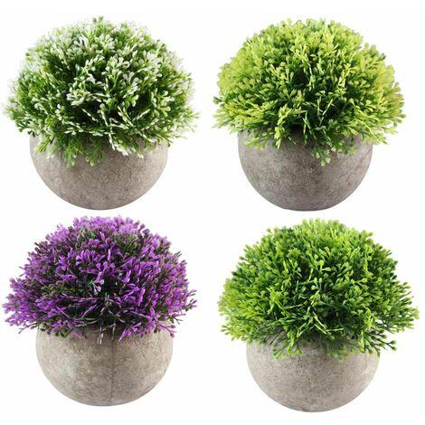 4pcs Mini Plante Succulente Artificielle Plante Bonsaï Décoration Maison, Jardin, Cuisine, Mariage,Bureau Intérieur et Exterieur