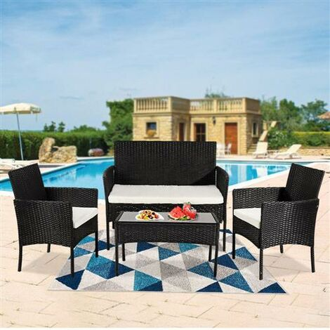 4PCS Outdoor Living Room Balcony Garden Rattan Furniture-Black