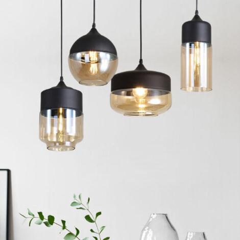 4pcs Pendant Light Retro Drop light with Glass Modern Hanging Ceiling Light E27 Bulb for Loft Bar and Kitchen Cafe Bedroom