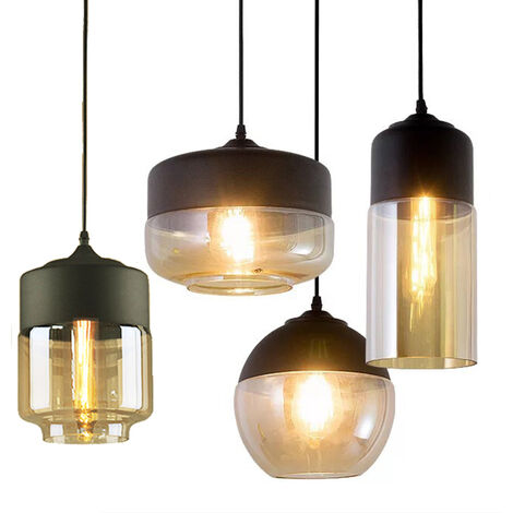 4pcs Pendant Light Retro Droplight with Glass Modern Hanging Ceiling Light E27 Bulb for Loft Bar and Kitchen Cafe Bedroom