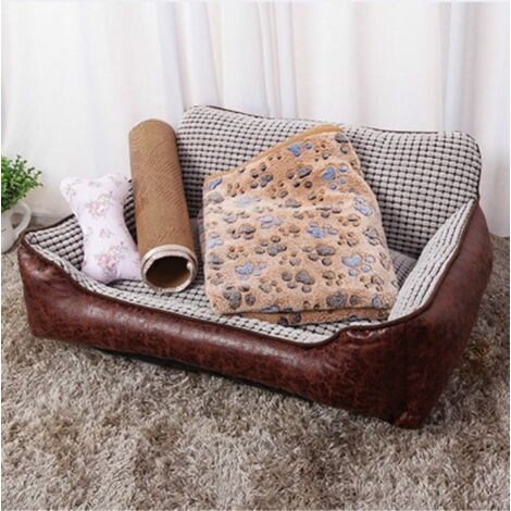 4PCS Pet Sofa Dog Cat Couch PU Leather Cushion PP Cotton Bed Chair with Blanket + Mat (70cm by 50cm by 21cm)