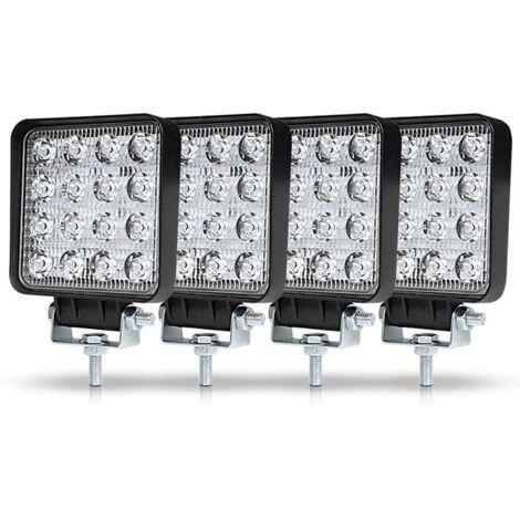4Pcs Phare de Travail LED 3Pouces 48W LED Phare Travail Projecteur Feux Antibrouillard pour Voiture Camion UTV SUV Offroad Tracteur Bateau