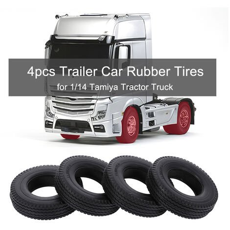 4Pcs Remorque Voiture Caoutchouc Pneus Pour 1/14 Tamiya Tracteur Camion Rc Grimpeur Remorque