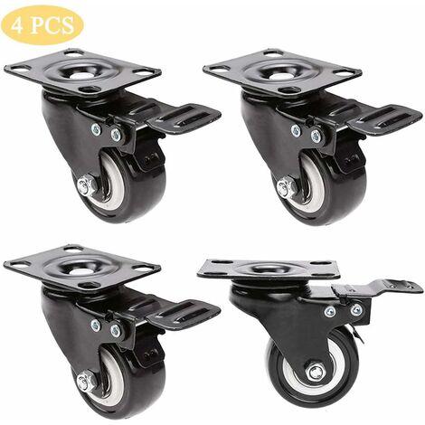 4pcs Roulettes Pivotantes Caster Pivotant 360°avec Frein pour Meubles/Transport Capacité de Charge 200 kg