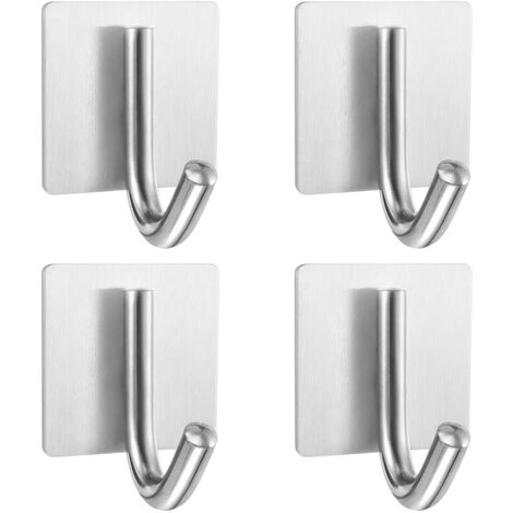 4pcs Self Adhesive Stainless Steel Towel Hooks, Waterproof and Oil Resistant Wall Hook For Bathroom, Kitchen and Living Room Towel Rack With