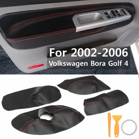 4Pcs / Set Car Accessory Protective Interior Door Panel Microfiber Leather Cover For Volkswagen Bora Golf 4 2002 2003 2004 05 06 (Red, Black Red Line)