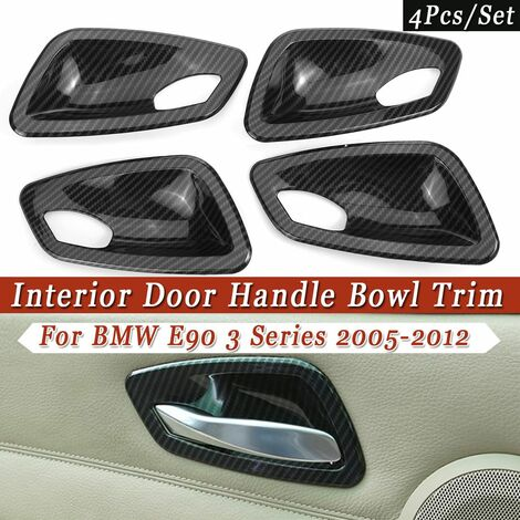 4Pcs / Set Carbon Fiber Texture Look Interior Door Handle Bowl Trim Cover Fit For BMW E90 3 Series 2005-2012