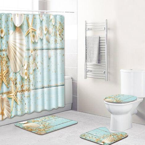 4pcs / set del patron Concha / estrellas de mar Impreso resistente al agua cortina de ducha pedestal Alfombra tapa del inodoro cubierta de alfombra antideslizante alfombra de bano Conjunto, estilo 1