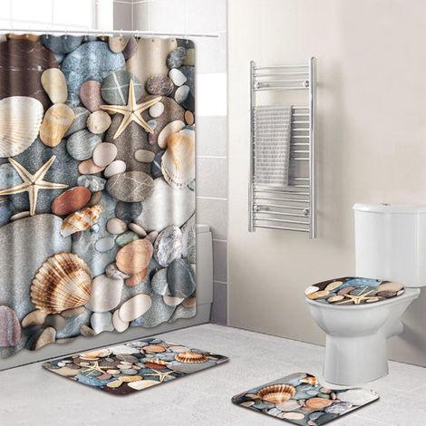 4pcs / set del patron Concha / estrellas de mar Impreso resistente al agua cortina de ducha pedestal Alfombra tapa del inodoro cubierta de alfombra antideslizante alfombra de bano Conjunto, estilo 2