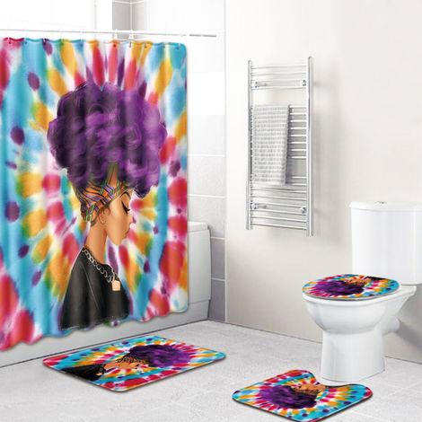 4Pcs / Set Femme Africaine Imprime Motif Resistant A L'Eau Rideau De Douche Sur Pied Tapis Couvercle Toilettes Couvercle Tapis Anti-Derapant Tapis De Bain Set De Bain Fournitures, Style 4