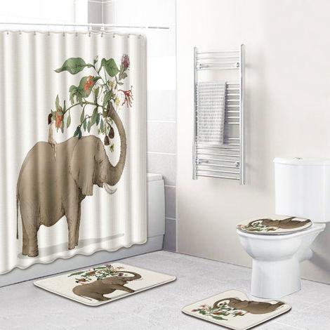 4Pcs / Set Motif Imprime Elephant Resistant A L'Eau Rideau De Douche Sur Pied Tapis Couvercle Toilettes Couvercle Tapis Anti-Derapant Tapis De Bain Set De Bain Fournitures, Style 9