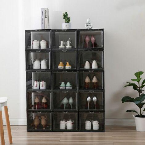 4PCS Shoe Boxes Shoe Box Clear Stackable Sneaker Container Transparent Shoe Organizer (Black, 4Pcs)