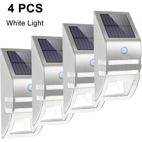 4pcs Stainless Steel Solar Motion Sensor Lights Outdoor Decorative Solar Powered LED Powered Security Lights Waterproof for Front Door Patio Deck Yard Garden Fence Porch, positive white light