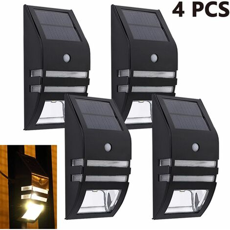 4pcs Stainless Steel Solar Motion Sensor Lights Outdoor Decorative Solar Powered LED Powered Security Lights Waterproof for Front Door Patio Fence Porch, warm white light 2800-3000K