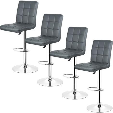 4pcs *tabourets de bar chaise fauteuil américain en hauteur réglable -noir
