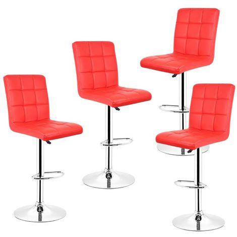 4pcs tabourets de bar chaise fauteuil en hauteur réglable - rouge