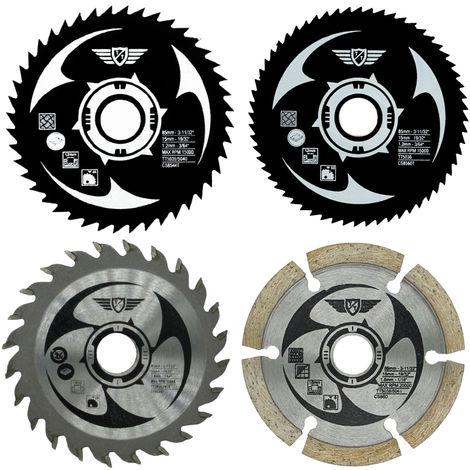 4pcs TopsTools 85mm Mix Circular Saw Blade Kit - CSK85_4