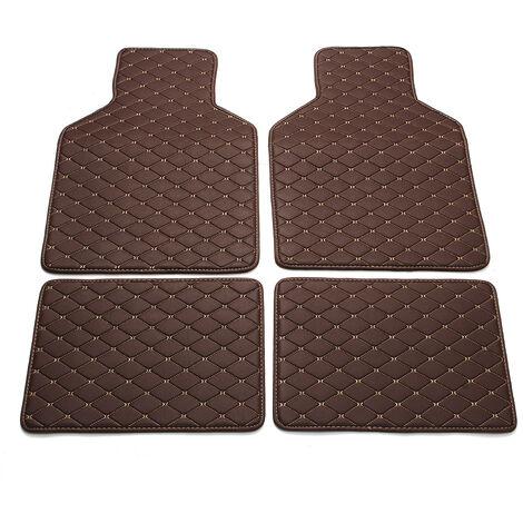 4PCS Universal Car Waterproof Front & Rear Mats Floor Carpet For BMW Volvo Benz coffee