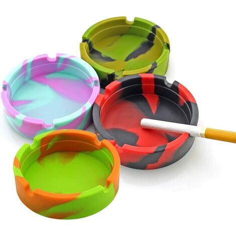 4pcs will not break-Ashtray Silicone Cigarettes Cutrier Cup, Newness Modern Silicone Table Ashtray for Indoor or Outdoor Use