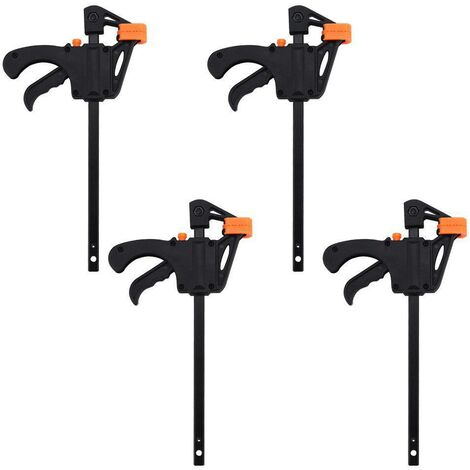 """main image of """"4Pcs Woodworking Clamp Set, Orange F-Type Clamp, Ratchet Bar Clamps, One Handed Bar Clamp, Suitable for Clamp Applications for DIY Woodworking Projects."""""""