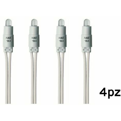 4pz spia led bianca 230V per interruttore luce di segnalazione ampolla C0015WHT