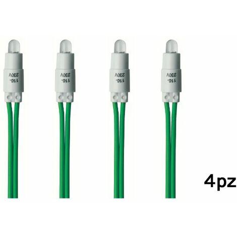 4pz spia led verde 230V per interruttore luce di segnalazione ad ampolla C0015VD