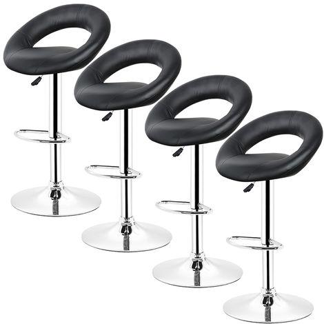 4*Tabouret haut bar cuisine fixe pivotant réglable en hauteur avec repose-pieds