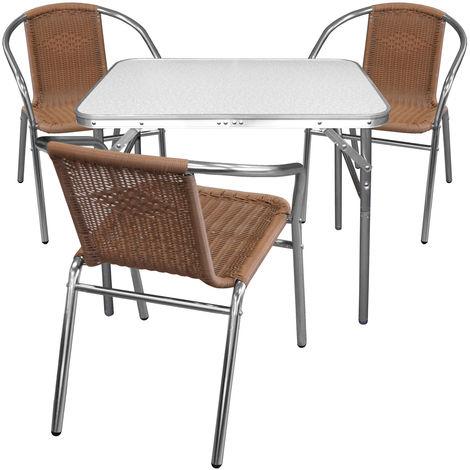 4tlg. Balkonmöbel Set - Campingtisch, Klapptisch mit Tragefunktion, Aluminium, 75x55cm + 3x Bistrostuhl, Polyrattanbespannung in Natur, Aluminiumgestell Silber, stapelbar
