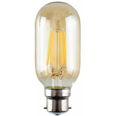4W LED Filament BC B22 Radio Valve Amber Tubular Light Bulb