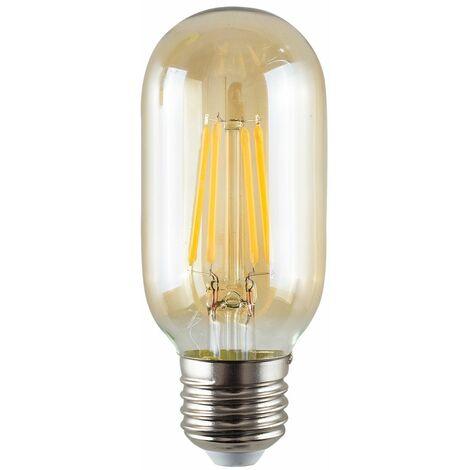 4W LED Filament ES E27 Radio Valve Amber Tubular Light Bulb - Pack of 3 - Amber