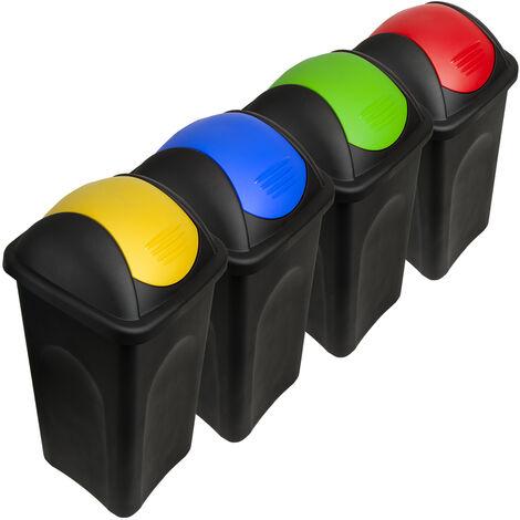 4x Abfalleimer mit Schwingdeckel - je 60L - Müllsortierer Mülltrennsystem Mülleimer